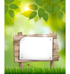 Natural background with leaves and a wooden sign vector
