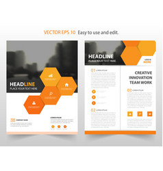 Orange hexagon annual report brochure design vector
