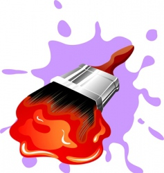 paint brush and paint vector image