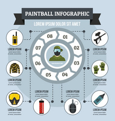 Paintball infographic concept flat style vector