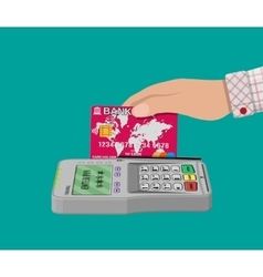 Pos terminal and bank card vector