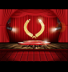 red stage curtain with spotlights seats and vector image