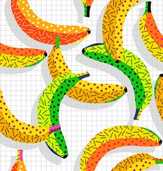 Retro 80s banana pattern background vector image