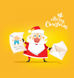 santa claus receive a letter of wish about toy vector image vector image