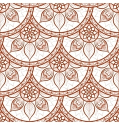 Seamless henna color floral mandala pattern vector