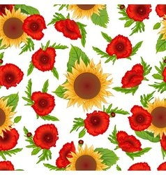 Seamless pattern sunflowers and poppies vector