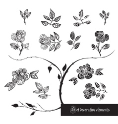 Set of decorative elements roses and leaves vector image