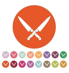 The crossed knives icon Knife and chef kitchen vector image