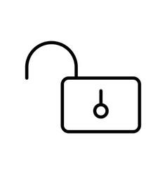 thin line opened lock icon vector image