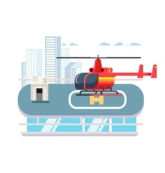 Helicopter on roof vector