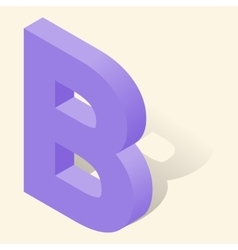 B letter in isometric 3d style with shadow vector