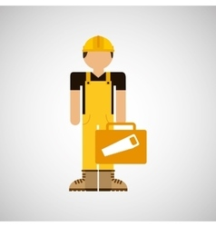 Character construction man with tool box saw vector