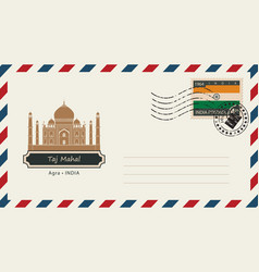 an envelope with a postage stamp with taj mahal vector image