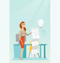 business woman presenting business report vector image