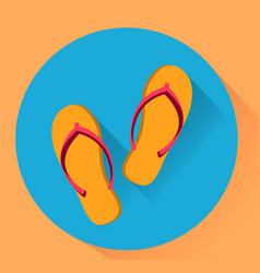 Beach slippers flat yellow and blue colores vector