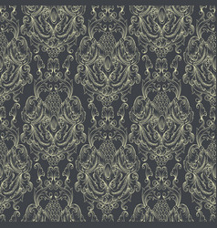 Damask seamless pattern hand drawn ornamental vector