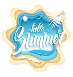 Hello summer paper art vector