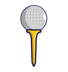 Golf ball on a yellow tee icon cartoon style vector