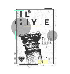 A poster on a t-shirt with a classical column old vector