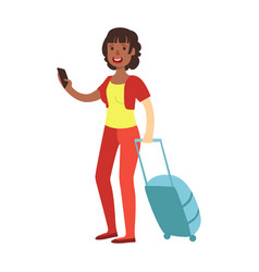 Cheerful brunette woman standing with travel vector