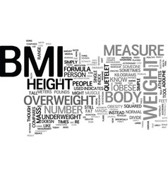 What is bmi the truth revealed text word cloud vector