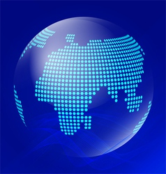 Blue transparent globe with waves vector