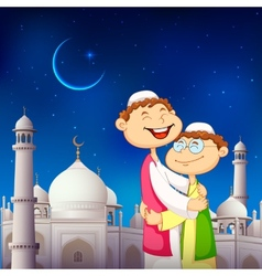 People hugging and wishing eid mubarak vector