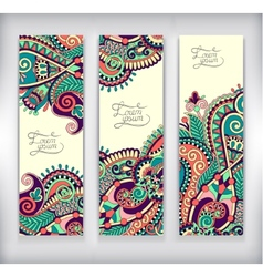 set of decorative flower template banner card vector image