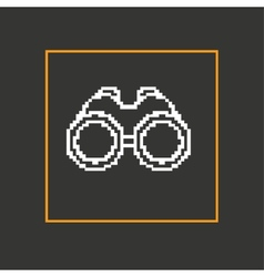 Simple style binoculars pixel icon design vector