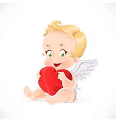 Cute cupid sitting and hugging a soft red pillow vector