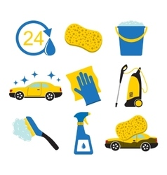 Car wash tools icons vector