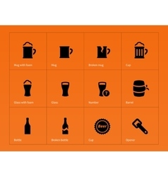 Bottle and glass of beer icons on orange vector