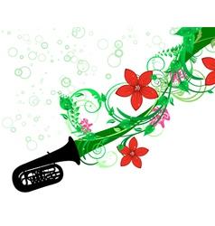 Tuba with floral border vector