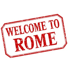 Rome - welcome red vintage isolated label vector