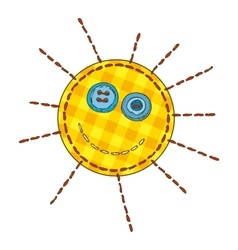 Isolated patchwork yellow funny sun vector