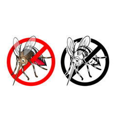 Prohibition sign mosquito cartoon character vector