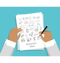 Business idea set of icon hand draw vector