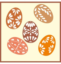 Set of six easter eggs with with ornaments vector