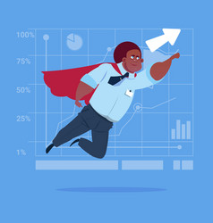 African american businessman super hero fly up vector