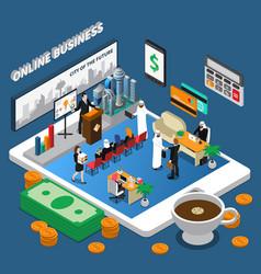 Arab people online business isometric vector
