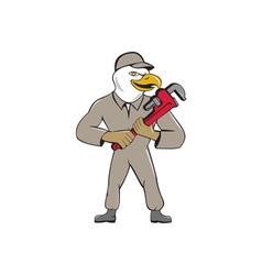 Bald eagle plumber monkey wrench cartoon vector