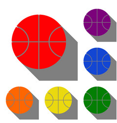 Basketball ball sign set of red vector
