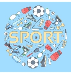 Circular concept of sports equipment background vector image vector image