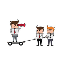 Color image cartoon business man and teamwork vector