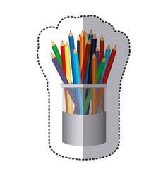 Color pencils color inside the butter jar icon vector