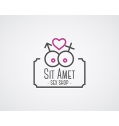 Cute Sex shop logo and badge design template Sexy vector image