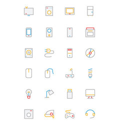 Electronics and Devices Colored Outline Icons 1 vector image vector image