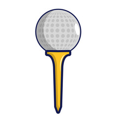 Golf ball on a yellow tee icon cartoon style vector