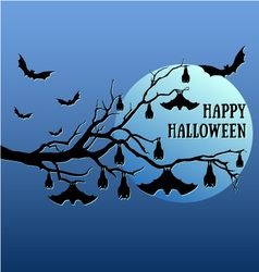 Halloween bats hanging on tree vector