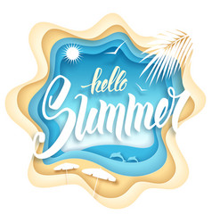 Hello summer paper art vector